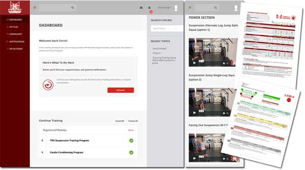 MEP Screen shots - portal - exercise tutorial videos - training plans