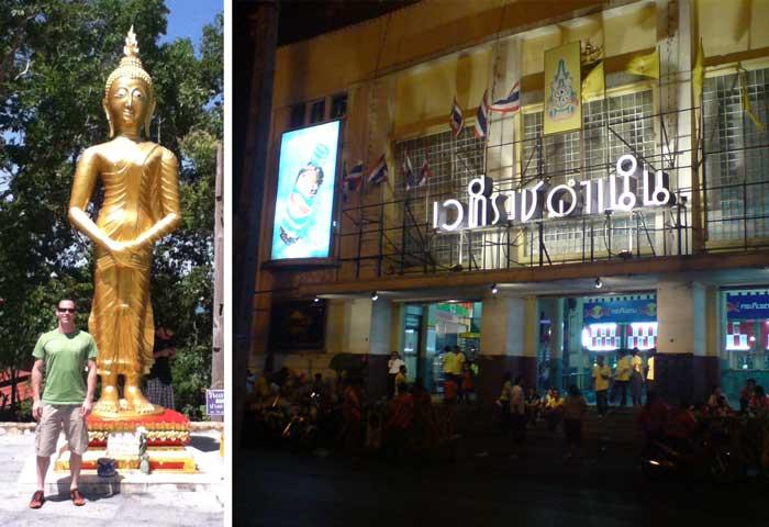 Immersing-in-(Muay)-Thai-culture... Left: Don next to his birthday buddha (Pang Tawai Natra), Right: Hanging Outside Rajadamnern Stadium