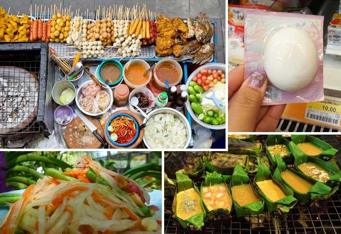 Top-left: BBQ skewers. Top-right: 7/11's vacuum sealed egg. Bottom-left: Vegetables. Bottom-right: Mini omelettes