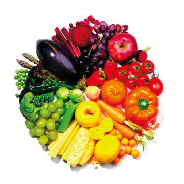 Eat a rainbow of coloured fruits and vegetables