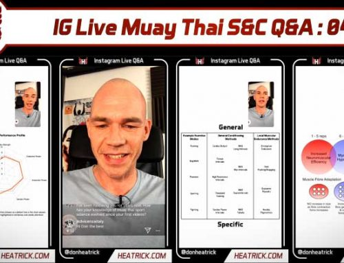 IG Live Muay Thai S&C Q&A 04 – Full Fight Camp Cardio, Strength Standards, Landmine Twist Form, Neural Drive Warm Ups, Loading Legs Not The Back, Agility Ladders, Body Weight Muscle Mass & More